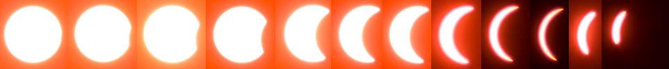 Фазы полного солнечного затмения через дискету